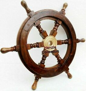 Vintage Wooden Ship Wheel Pirate Captain Boat Steering Nautical Maritime 18