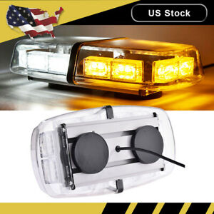 New 36 Led Emergency Flash Warning Roof Top Strobe Light Amber White Car