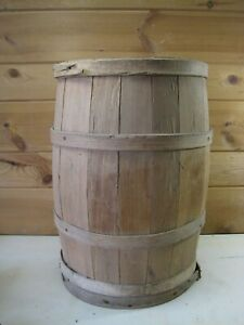 Antique Wood Banded Wooden Shipping Barrel Country Store Western Decor B0985