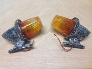 Pair Vintage Cab Marker Light Signal Stat 13m Amber Early Auto Fire Truck