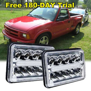 For Chevy S10 97 4 x6 Led Drl Light Bulb Crystal Sealed Beam Headlamp Headlight