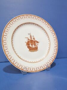 Chinese Export Clipper Ship Plate W Enamel