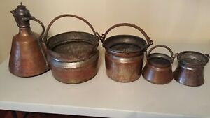 Turkish Handmade Antique Copper Boiler Planter Cauldron Pots Lot Of 4