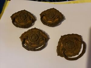 4 Ornate Antique Vintage Dresser Drawer Ring Bail Pull Door Cabinet Desk Handles