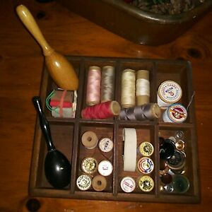 Antique Dove Tailed Oak Wood Storage Sewing Box Tray