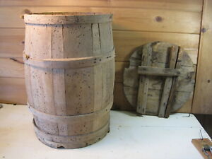 Antique Wood Banded Wooden Shipping Barrel Country Store Western Decor B0993