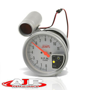 Universal 5 White Face 7 Led Tachometer 11k Rpm Tach Gauge With Red Shift Light
