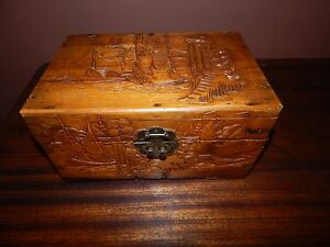 Japanese Hand Carved Wood Box Intricate Carved Antique Circa 1940 Superb C