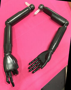 Articulate Posable Black Plastic Pair Of Mannequin dress Form Arms