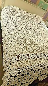 Antique Hand Crocheted Coverlet Bedspread Flowerets
