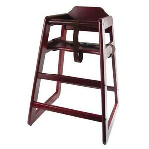 Wooden Restaurant Style High Chair Child Seat Mahogany Wood Color