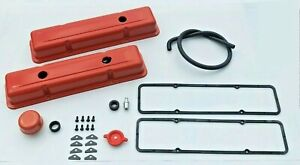 68 82 Corvette Valve Covers Kit Orange Covers With Hardware Gaskets New Sbc