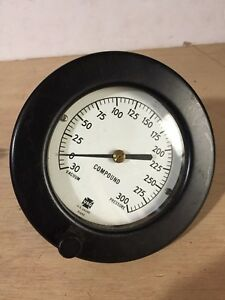 Usg Vacuum Pressure Gauge 0 300 Psi 5 Wide Steampunk Compound