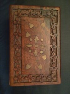 Hand Carved Lined Wooden Storage Box With Solid Brass Hinges And Inlay Tobacco