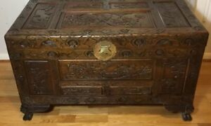 Antique Chinese Camphor Wood Hand Carved Chest Coffee Table 40 X 21 X 23 5