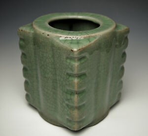 Exquisite Southern Song Dynasty Cong Form Celadon Vase Antique Chinese Pottery