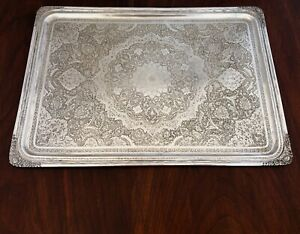 Early Magnificent Persian 875 Silver Tray Traditional Engraved Decoration