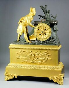 French Empire Gilt Bronze Patinated Napoleon Clock Ormolu Battle War Cannon Pons