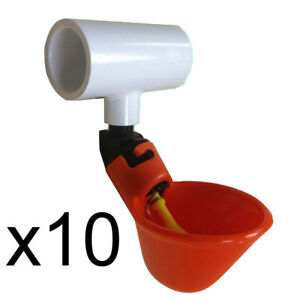 Ten 10 Automatic Watering Drinker Cups And Pvc Tee Fittings Chicken Poultry
