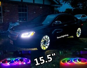 Fiacarlighting Ip68 15 5 Dual Row Chasing Led Wheel Lights 4pcs Set bluetooth