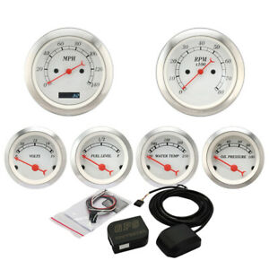 Vintage 6 Gauge Performance White Face Red Pointers Electrical Mph Gps Set