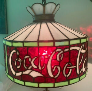 Vintage Coca Cola leaded glass hanging light stained glass coke lamp pendant