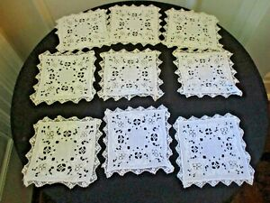 Set Of 9 Antique 5 Square Cutwork Ivory Linen Lace Coasters Doilies