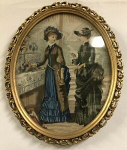 Victorian Chromolithograph Art Print Ladies In Color