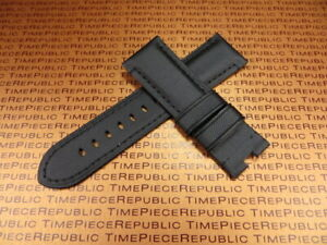 New 24mm Black Leather Kevlar Strap TOILE Fabric Deployment Watch Band PANERAI $27.50