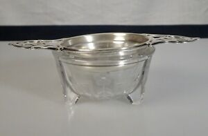 Antique Wallace Sterling Silver Tea Strainer Etched Glass Bowl 57136