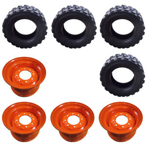 4 New 14 ply Non directional 12x16 5 Skid Steer Tires Rims For Bobcat 12 16 5