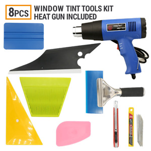 8 Pcs Window Tint Heat Gun Kits Wrapping Vinyl Tools Squeegee Scraper Applicator