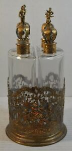 Antique Four Bottle Perfume Or Liquor Set And Rack