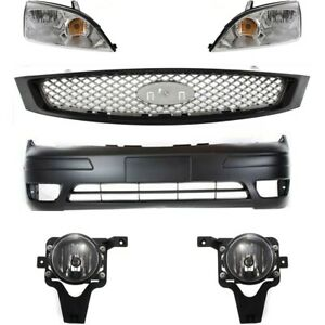 Bumper Cover Kit For 2006 07 Ford Focus Front With Fog Light Holes Provi