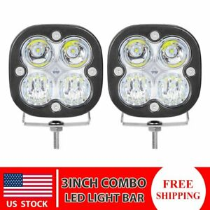 2x 3inch 40w Round Led Work Light Bar Pods Combo White Blue Offroad 4wd Suv Atv