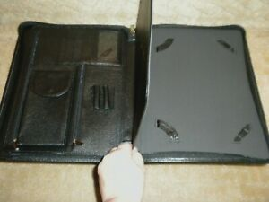 Genuine Black Top Grain Leather Tablet Notepad Portfolio Organizer Executive