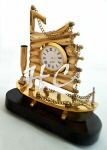 Brass Wood Flag Ship Model Sailing Boat Nautical Desk Clock With Pen Holder