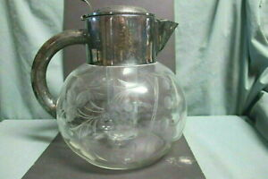 Crystal Cut Silver Plated Pitcher With Glass Insert For Ice