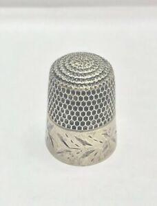 Antique Sterling Silver Sewing Thimble Size 8 Made In Usa