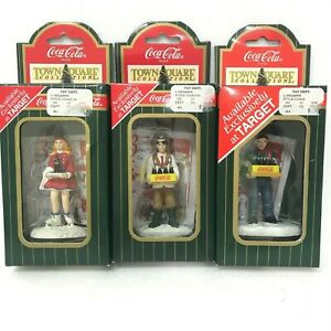 1996 Coca Cola Xmas Town Square Figurines: Carhop  Popcorn Vendor  Pizza Man