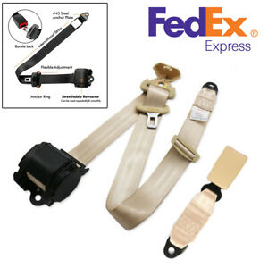 Beige 3 Point Retractable Car Seat Belt Lap W Quick Release Camlock Us Stock