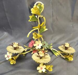 Wrought Iron Vintage Italian Made In Italy Tole Painted Metal Flower Wall Sconce