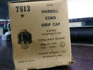 Hubbell 7513 Cord Grip Cap 3 Wire 50 Amp 250 Volt 875 1 218 Range New In Box