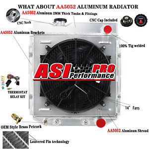 Aluminum Radiator Shroud Fan Thermostat For 1964 1966 Ford Mustang 60 65 Falcon