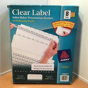 Avery 11447 Index Maker 8 Tab Print Apply Clear Label Dividers 25 Sets