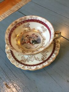 Demitasse Tea Cup And Saucer Signed F Boucher Medallion Painting With Angels