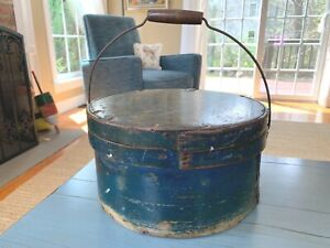Early Large Pantry Box Bail Handle Lid Old Mustard Blue Green Paint Antique