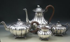 Oneida Old English Melon Coffee Pot Teapot Sugar Creamer Bowl Antique Silverplat