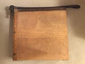 Vintage Ingento Cast Iron Maple Guillotine Paper Cutter 12 X 12 Pre owned