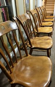 Set Of 6 Vintage Mint S Bent Brothers Bros Colonial Windsor Chairs Stenciled Rar